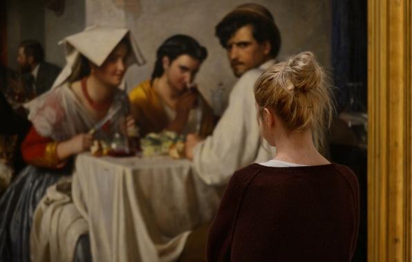 Картинка девушка, размытие, картина, взгляды