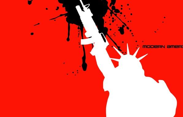 Картинка свобода, текст, статуя, винтовка, современная америка