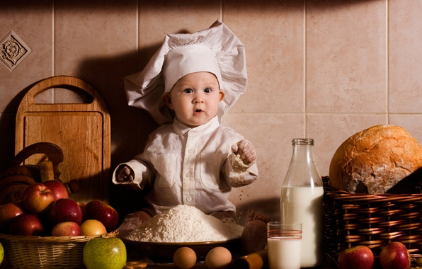 Картинка стакан, яблоки, бутылка, яйца, удивление, молоко, хлеб, повар, ребёнок, мука, корзинки