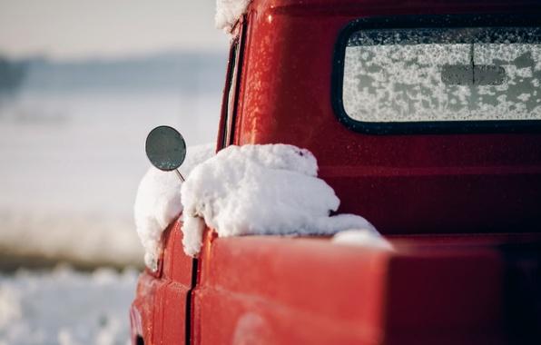 Картинка машина, снег, зеркало