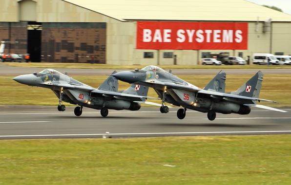Картинка истребители, взлет, MiG-29, МиГ-29