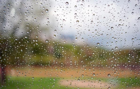 Картинка стекло, вода, капли, макро, Дождь