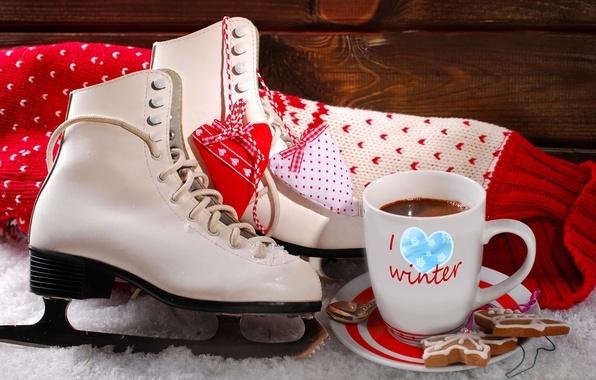 Картинка зима, снег, любовь, праздник, сердце, кофе, печенье, чашка, сладости, love, heart, winter, snow, cup, happy …