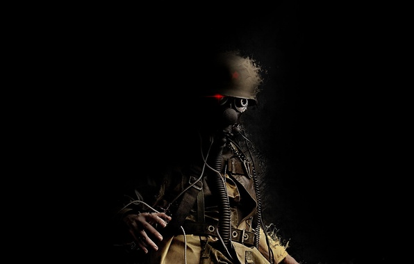 Картинка звезда, солдат, противогаз, каска, хобот, Trooper, красный глаз