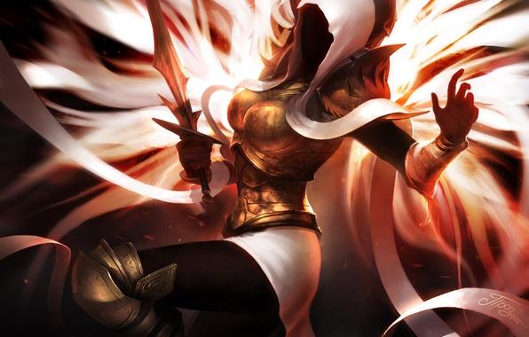 Картинка девушка, крылья, меч, арт, капюшон, Diablo, TamplierPainter, Fan Art, Auriel, lll