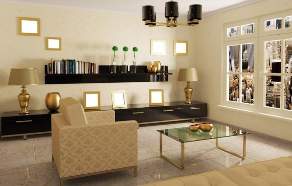 Картинка дизайн, стол, комната, лампа, интерьер, кресло, окно, картины, зеркала