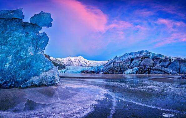 Картинка вода, закат, горы, лёд, Исландия, Iceland, Auster-Skaftafellssysla, ледник Ватнайёкюдль, Vatnajökull