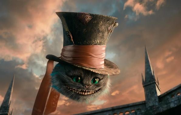 Картинка кот, шляпа, алиса в стране чудес, чеширский кот, чешир