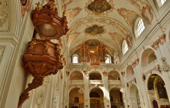 Картинка Швейцария, собор, религия, Люцерн, орган, неф