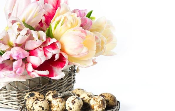 Картинка цветы, яйца, Пасха, тюльпаны, корзинка
