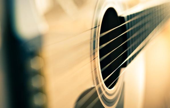 Картинка макро, фон, обои, гитара, размытие, струны, wallpaper, широкоформатные, background, музыкальный инструмент, полноэкранные, HD wallpapers, широкоэкранные