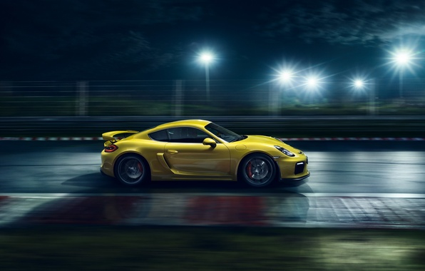 Картинка Porsche, Cayman, Speed, Yellow, Side, Supercar, Track, GT4, 2015, Ligth, Nigth