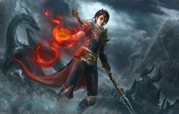 Картинка девушка, огонь, магия, дракон, армия, арт, маг, статуя, посох, скульптура, битва, dragon age, орк, hawke, ...