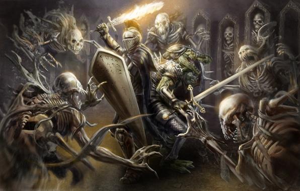 Картинка оружие, огонь, меч, доспехи, крокодил, арт, шлем, щит, рыцарь, скелеты