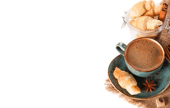 Картинка кофе, кружка, сахар, напиток, корица, блюдце, пенка, круассаны