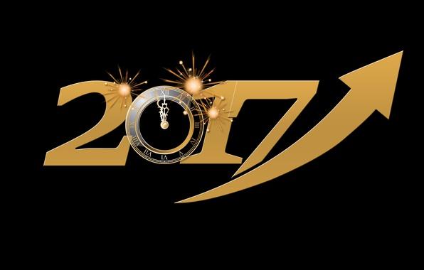 Картинка энергия, желтый, время, огни, фон, праздник, черный, графика, часы, новый год, вектор, цифры, стрела, черный …