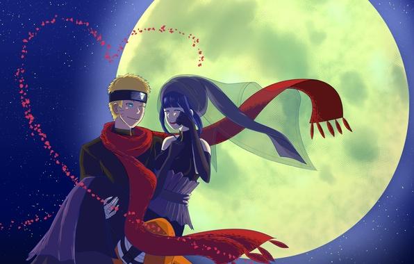 Картинка ночь, луна, naruto, art, Uzumaki Naruto, Naruto The Movie the Last, Hinata Hyugo, red scarf