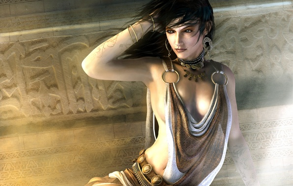 Картинка девушка, украшения, город, комната, игра, серьги, ожерелье, фэнтези, красавица, Prince of Persia: The Two Thrones, …
