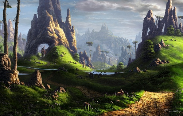 Картинка пейзаж, река, камни, замок, скалы, заяц, кони, лошади, арт, всадники, фантастический мир, Fel-X
