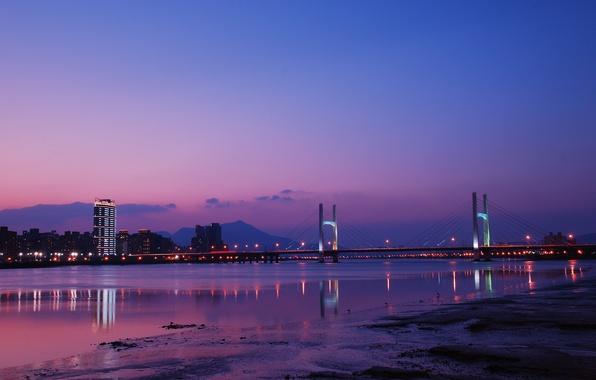 Картинка небо, облака, ночь, мост, city, lights, огни, отражение, река, China, Китай, Тайвань, river, sky, bridge, …