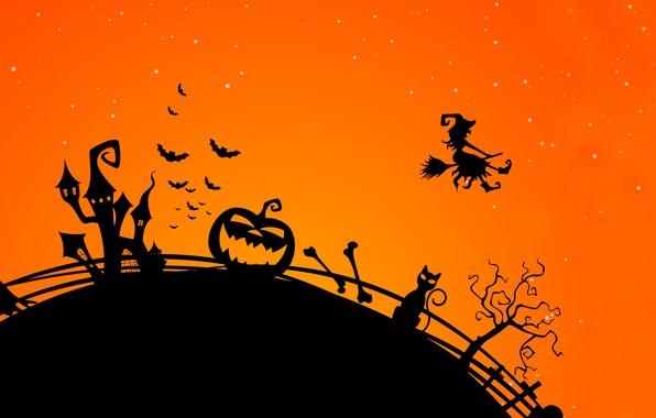 Картинка деревья, vector, вектор, Halloween, тыква, летучая мышь, ужас, horror, Хэллоуин, trees, bat, полночь, pumpkin, midnight, …