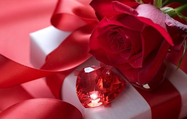 Картинка любовь, цветы, праздник, коробка, подарок, камень, роза, чувства, шелк, лента, красная, бантик, день святого валентина, …