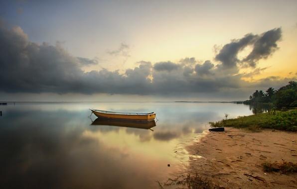 Картинка пляж, рассвет, лодка, залив