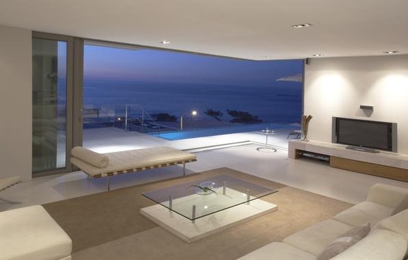Картинка море, пейзаж, стол, комната, океан, обои, интерьер, телевизор, wallpaper, балкон, пентхаус, квартира, диваны, penthouse, люкс
