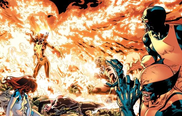 Картинка битва, Wolverine, X-Men, Marvel Comics, Cyclops, Dark Phoenix, Sabretooth, Mistique