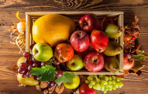 Картинка осень, яблоки, урожай, виноград, тыква, фрукты, ящик, овощи, груши