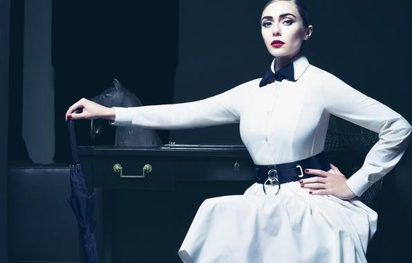 Картинка взгляд, стиль, белое, модель, зонт, макияж, платье, актриса, прическа, фотограф, журнал, Vogue, Elizabeth Olsen, Элизабет ...