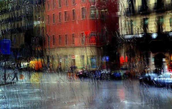 Картинка стекло, город, дождь, улица