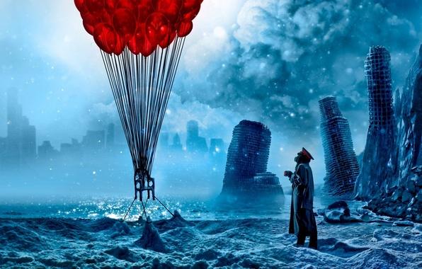 Картинка море, облака, снег, город, воздушные шары, лёд, арт, стул, кружка, капитан, руины, романтика апокалипсиса, romantically …