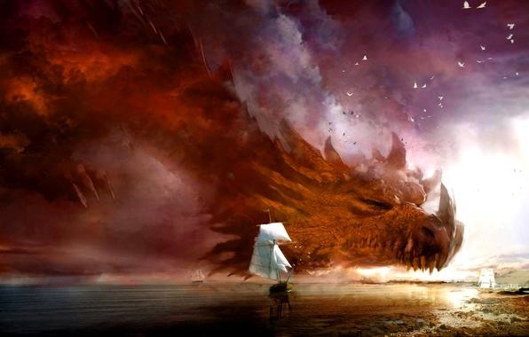 Картинка море, ночь, шторм, фантастика, дракон, корабли, буря, fantasy, туча