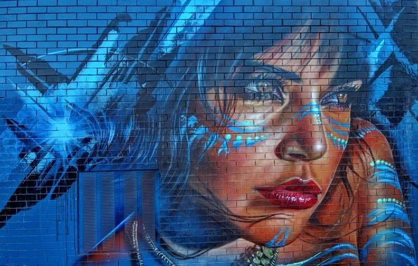 Картинка девушка, стена, граффити, рисунок