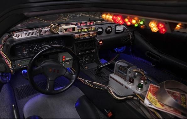 Картинка фон, приборы, руль, Назад в будущее, ДеЛориан, салон, DeLorean, DMC-12, Back to the Future, Машина ...