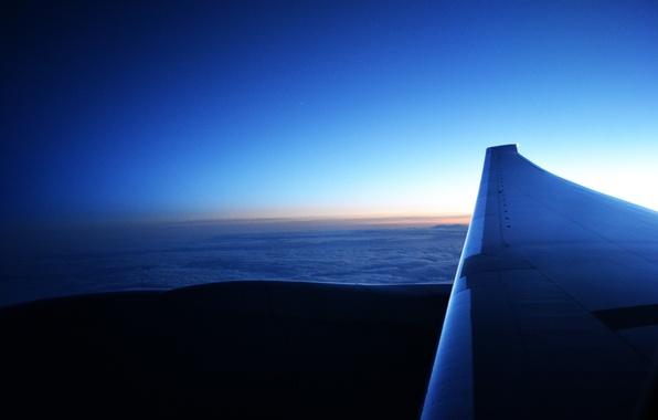 Картинка Закат, Солнце, Небо, Облака, Восход, Звезда, Крылья, Двигатель, Boeing, Полёт, Пейзаж, star, Sky, landscape, sunset, …