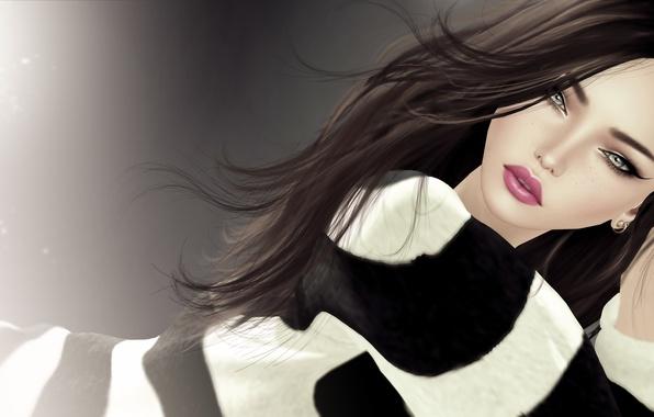 Картинка взгляд, девушка, полосы, рендеринг, волосы, серьги, кофта