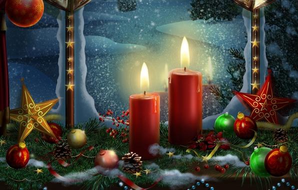 Картинка цвета, шары, шар, красота, colors, свечи, colorful, golden, star, gold, гирлянда, Happy New Year, Christmas, …