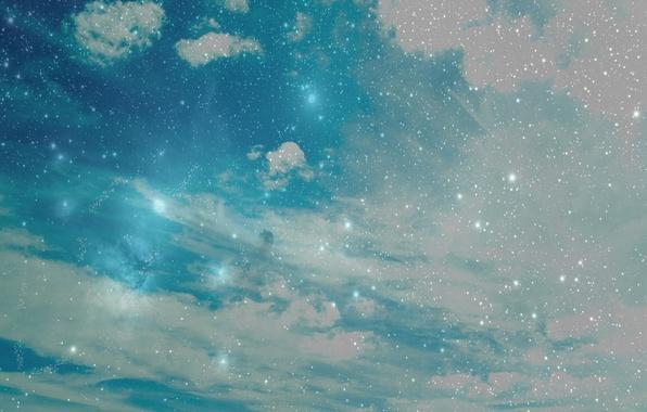 Картинка небо, звезды, облака, природа, sky, nature, 1920x1200, clouds, stars