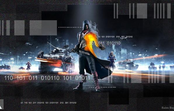 Картинка Огни, Взгляд, Дым, Свет, Флаг, Солдат, Оружие, Капюшон, Танк, Ubisoft, Assassin's Creed, БТР, Electronic Arts, …