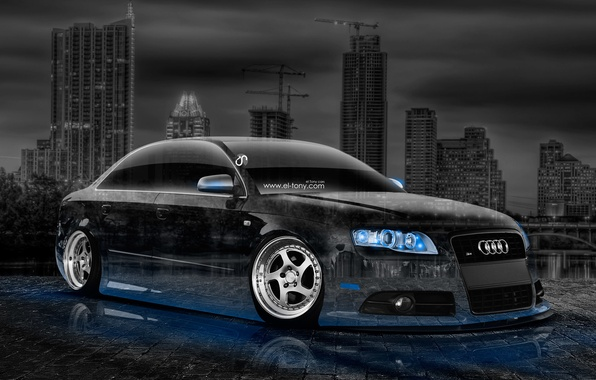 Картинка Audi, Авто, Ночь, Ауди, Синий, Город, Неон, Машина, Тюнинг, Обои, Голубой, City, Car, Арт, Art, …