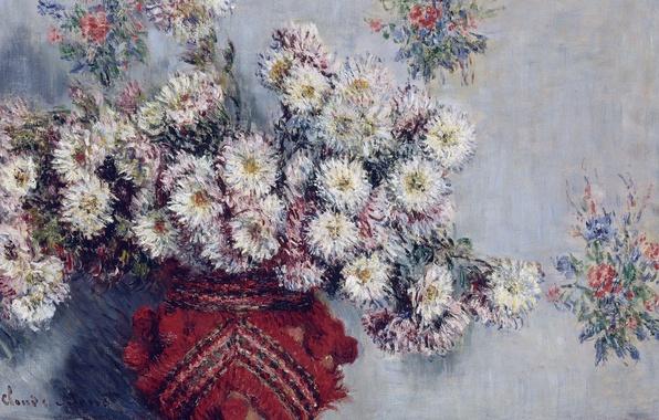 Фото обои цветы, Ваза с Хризантемами, натюрморт, картина, Клод Моне