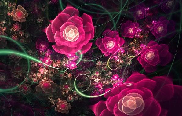 Картинка фракталы, розы, Узор