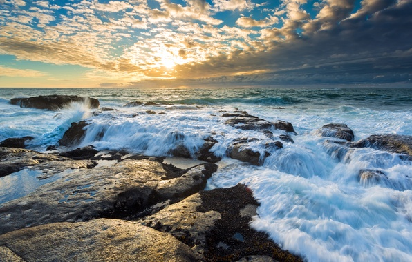 Картинка rock, sea, sunset, clouds, wave, boat