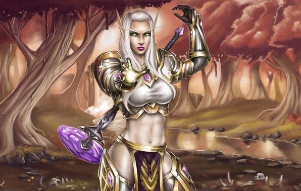 Картинка лес, магия, доспехи, молот, WoW, World of Warcraft, эльфийка