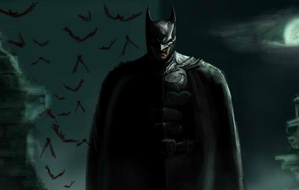 Картинка луна, арт, герой, костюм, Бэтмен, мужчина, летучие мыши, Batman, Брюс Уэйн, Bruce Wayne