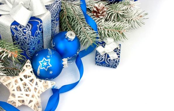 Картинка украшения, шары, Новый Год, Рождество, подарки, Christmas, balls, blue, New Year, gift, decoration