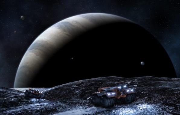 Картинка звезды, машины, планета, спутники, газовый гигант