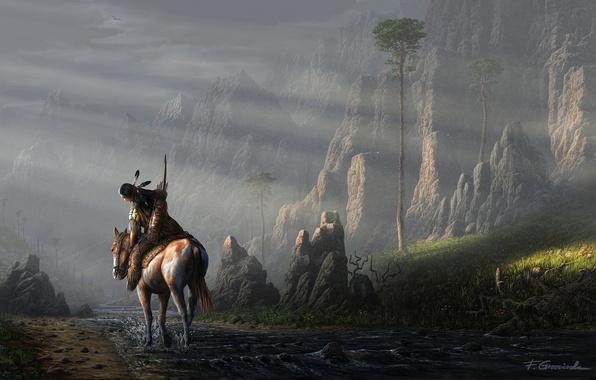 Картинка пейзаж, река, ручей, камни, скалы, конь, лошадь, человек, перья, арт, индеец, fel-x